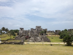 Tulum panoramic view of the archaeological site just infront of the Caribbean Sea.